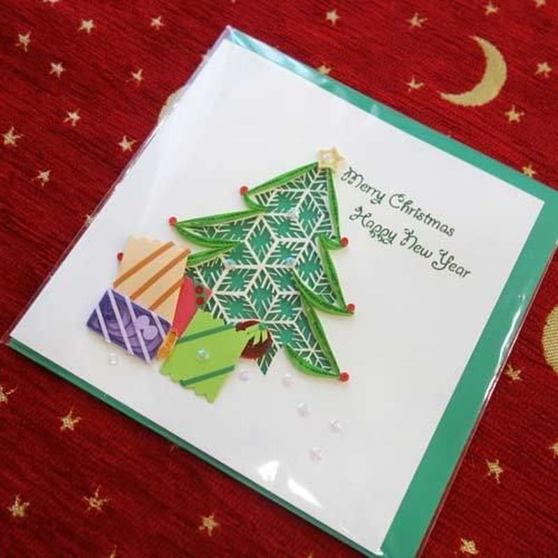pc31    ★立体的なデザインがかわいい!ベトナムペーパークイリングカード(クリスマス)