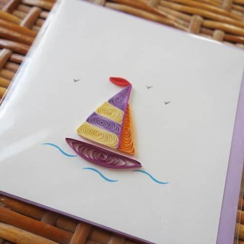 pc25-1 ★立体的なデザインがかわいい!ベトナムペーパークイリングカード(ヨット)Sサイズ