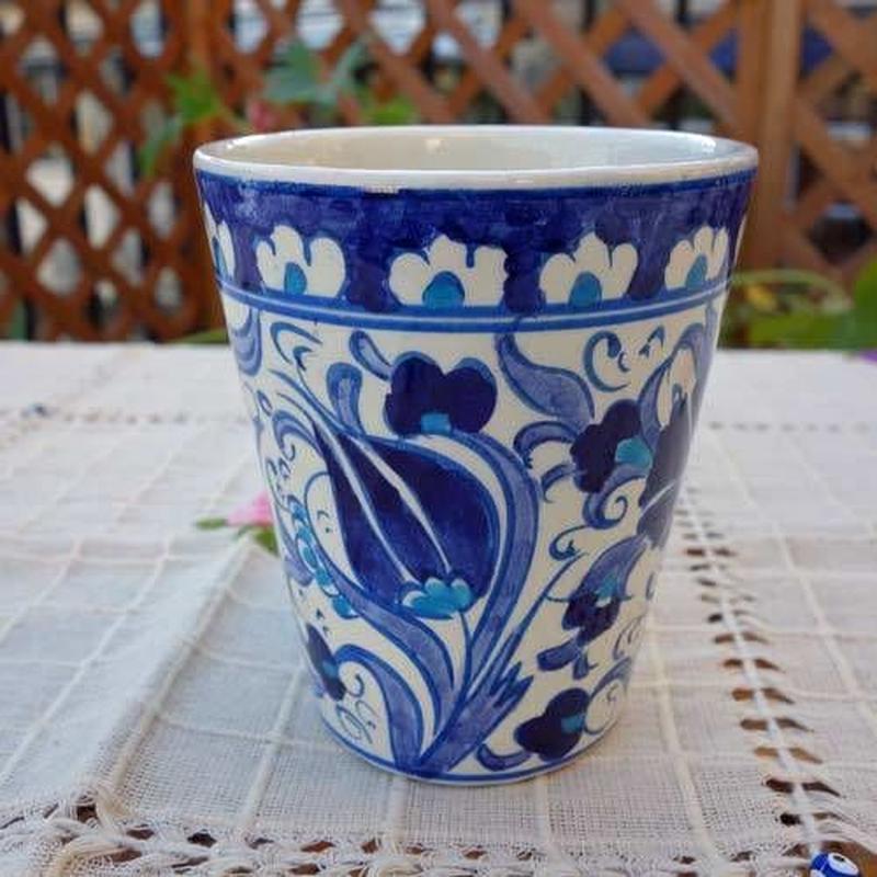 cup-31  手描きのトルコ・キュタフヤ陶器カップ(チューリップ&カーネーション)