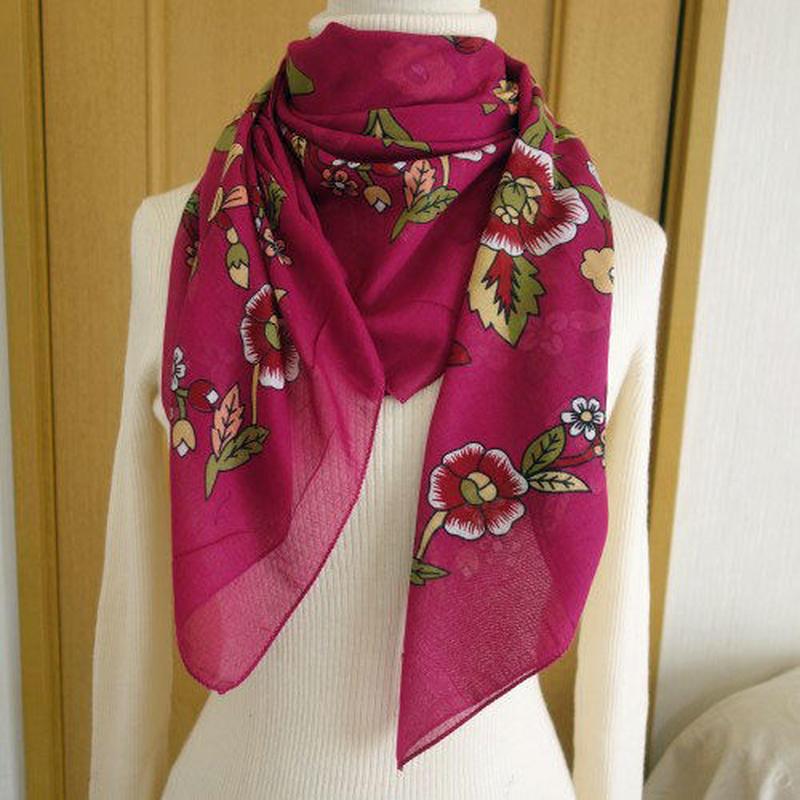 turcl6   繊維の宝庫トルコのふわっと軽いコットンスカーフ(ラズベリーピンク)L