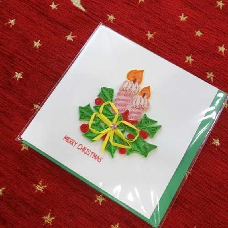 pc39s   ★立体的なデザインがかわいい!ベトナムペーパークイリングカード(クリスマス)  Sサイズ