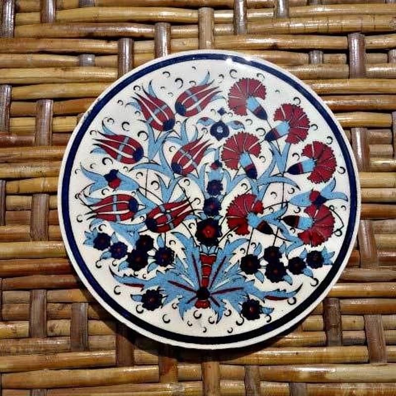 ★tpc-14  繊細なトルコ・プリント陶器コースター(チューリップ&カーネーション)