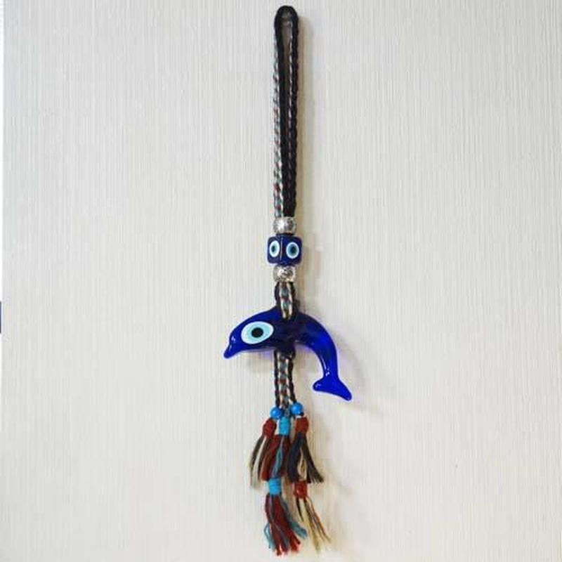 nazat113  ★馬の毛 トルコのお守りナザールボンジュウ  壁飾りLサイズ(イルカ)