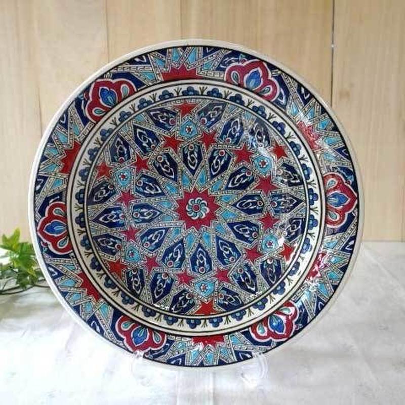 tkp30-a2  ★繊細な手描きのトルコ・キュタフヤ陶器(プレート30cm)