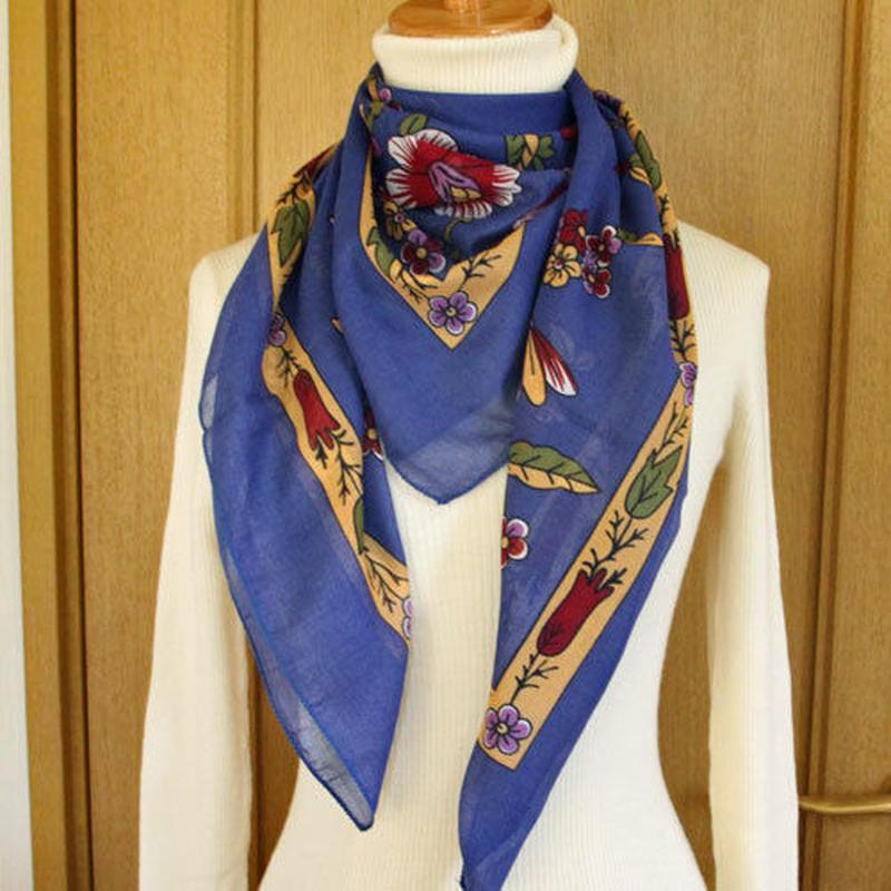 turcl15   繊維の宝庫トルコのふわっと軽いコットンスカーフ(サルビアブルー)L