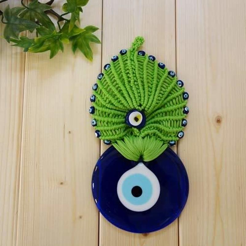nazat90  ★編込み トルコのお守りナザールボンジュウ  壁飾りLサイズ(ライトグリーン)