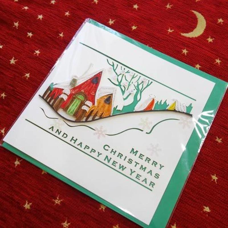pc15    ★立体的なデザインがかわいい!ベトナムペーパークイリングカード(クリスマス)