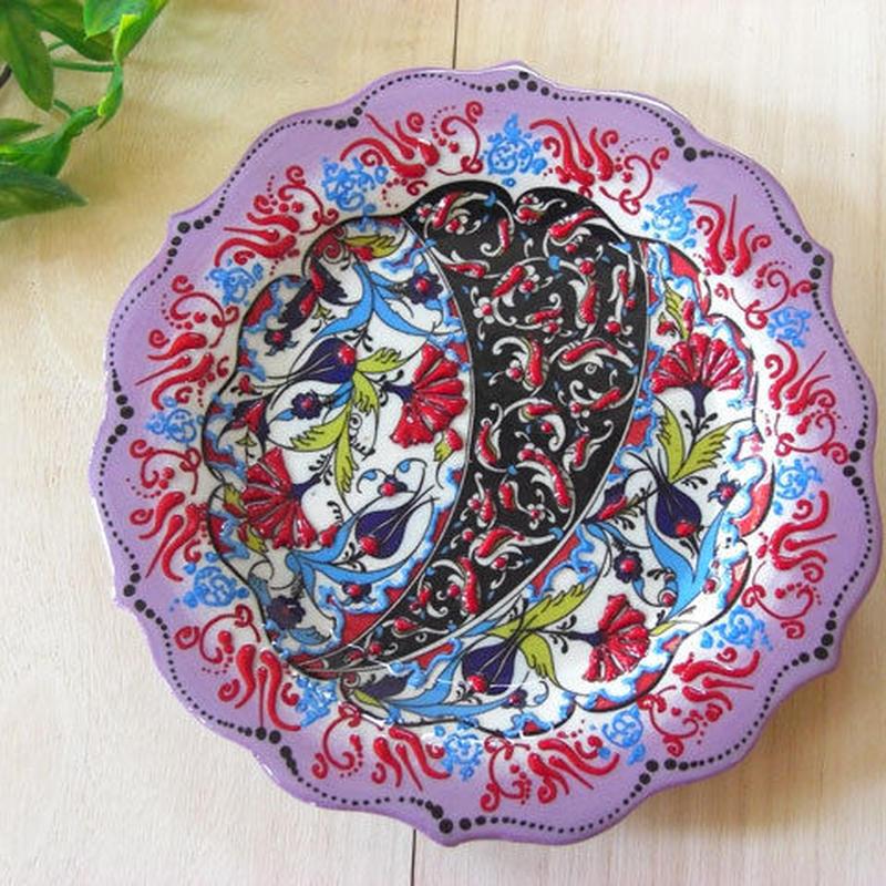 plate18-3★繊細な手描きのトルコ・キュタフヤ陶器(プレート18cm)