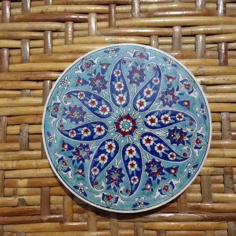 ★tpc-11  繊細なトルコ・プリント陶器コースター(ヒヤシンス)