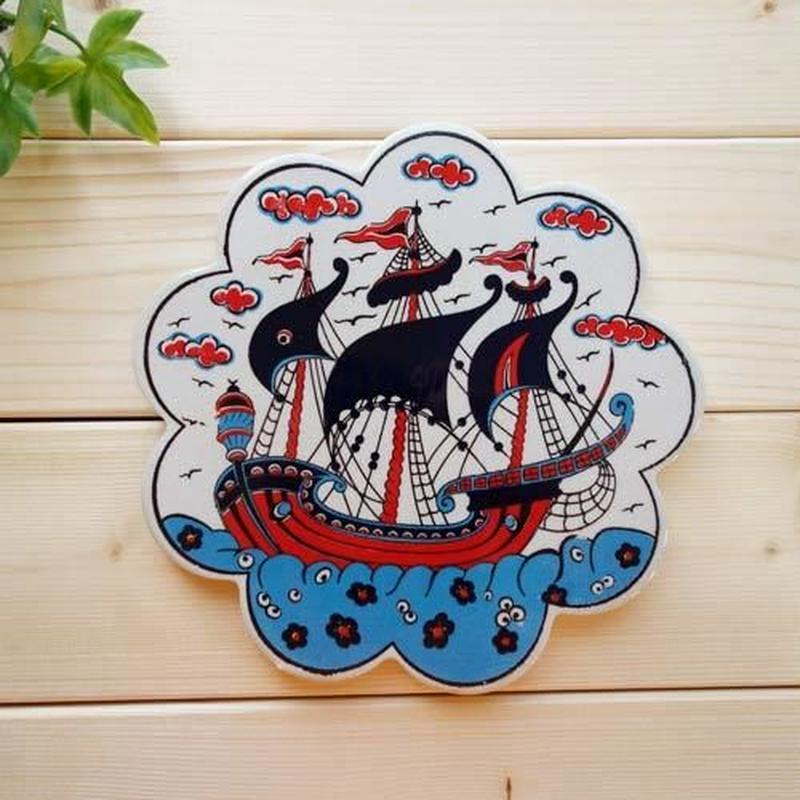 c0086-34 ★部屋のインテリアにもなります!繊細なトルコ・プリント鍋敷き(帆船)