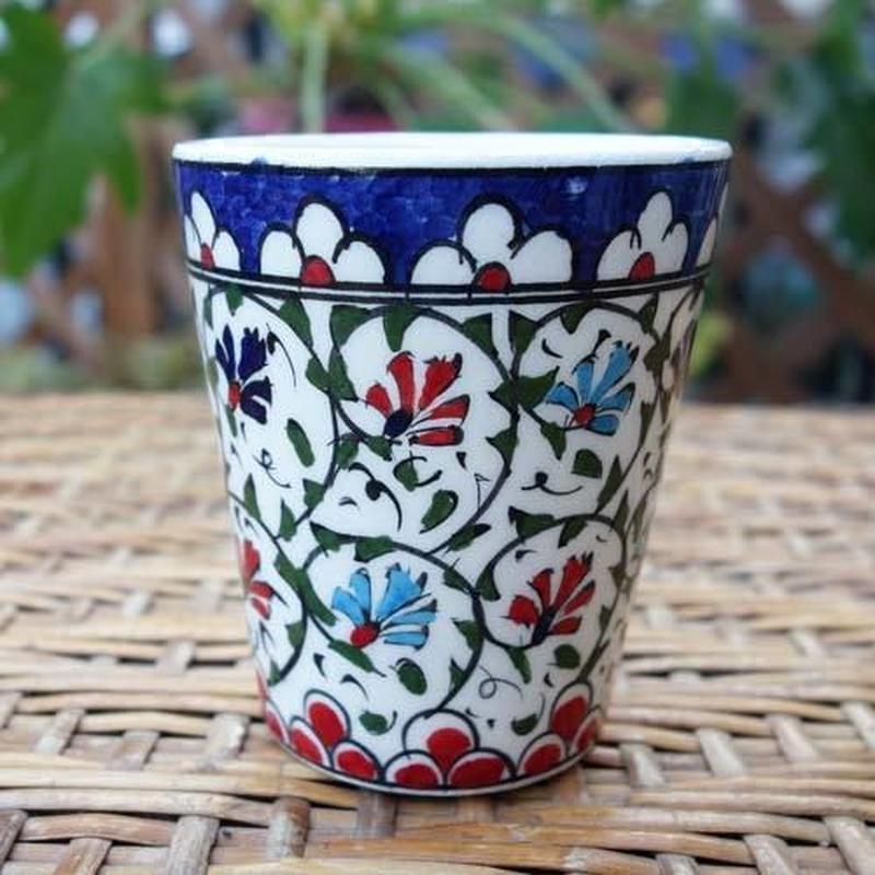 cup-11  手描きのトルコ・キュタフヤ陶器カップ(カーネーション)