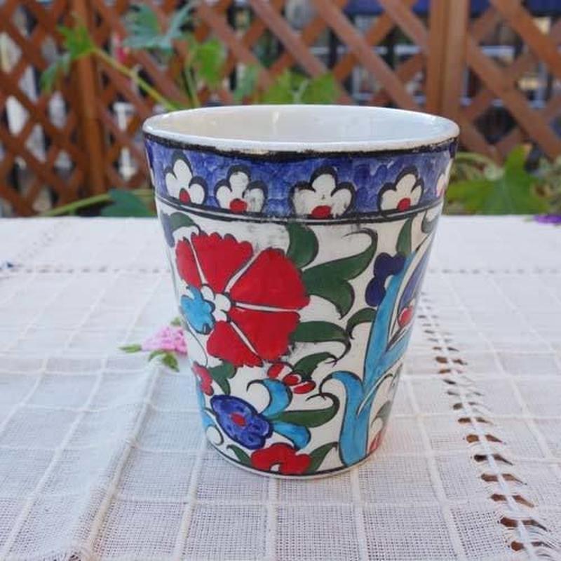 cup-22  手描きのトルコ・キュタフヤ陶器カップ(カーネーション&チューリップ)