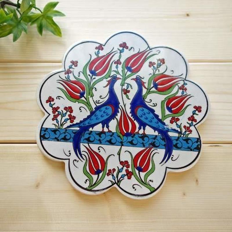 c0086-43 ★部屋のインテリアにもなります!繊細なトルコ・プリント鍋敷き(チューリップ&鳥)