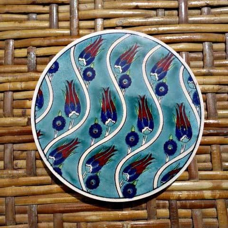 ★tpc-14  繊細なトルコ・プリント陶器コースター(チューリップ)