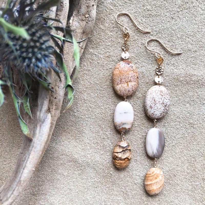 14KGF Picture & Wood Jyasper Earrings