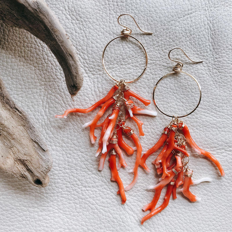 【受注後製作】14KGF Coral Brunch Weep Earrings