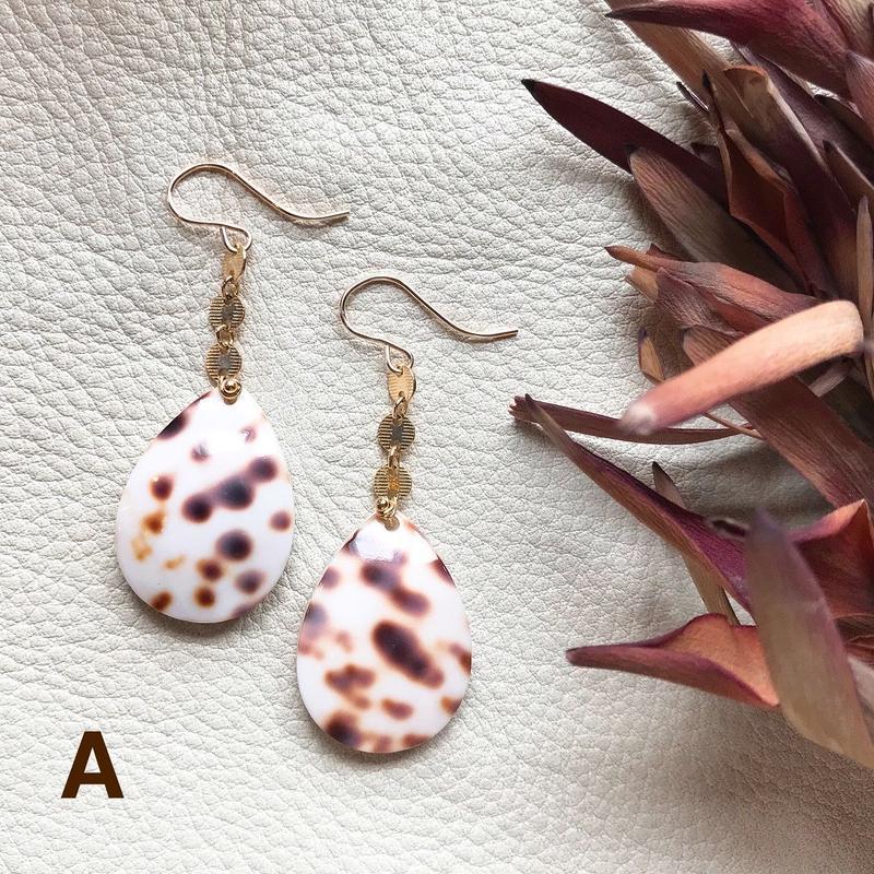 14KGF Brown Dot Drop Shell Earrings
