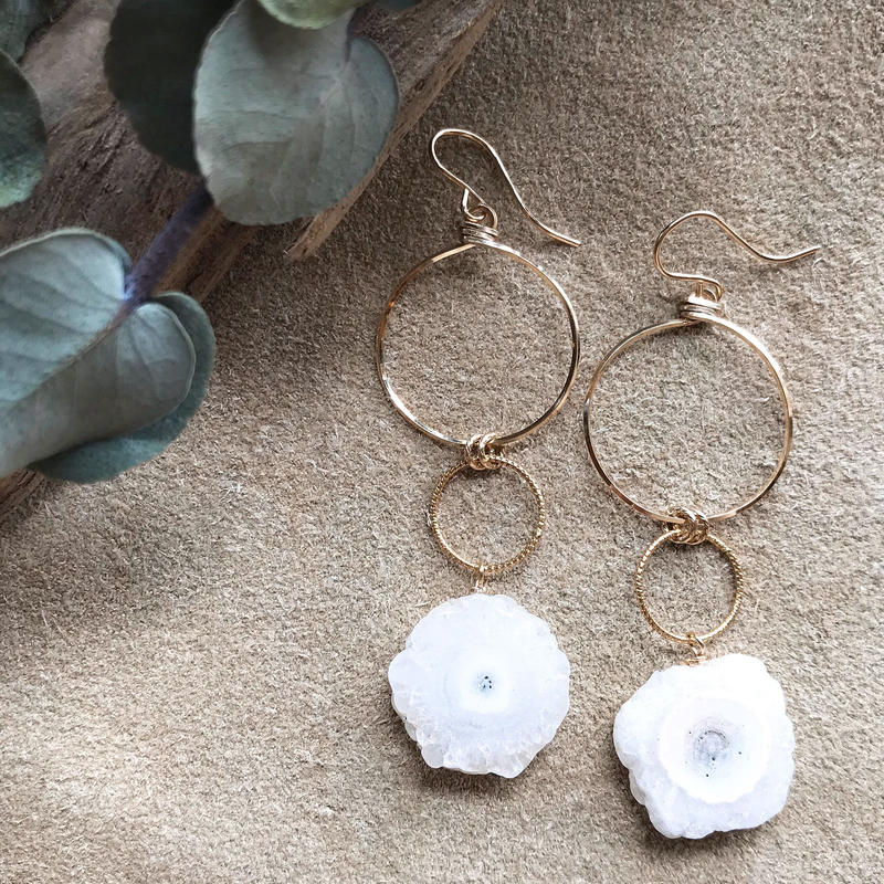 14KGF Solar Quartz Swing Earrings