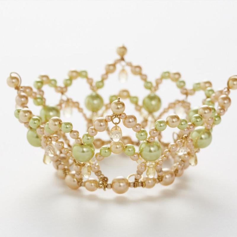 Beige&Olive Pearl Crown