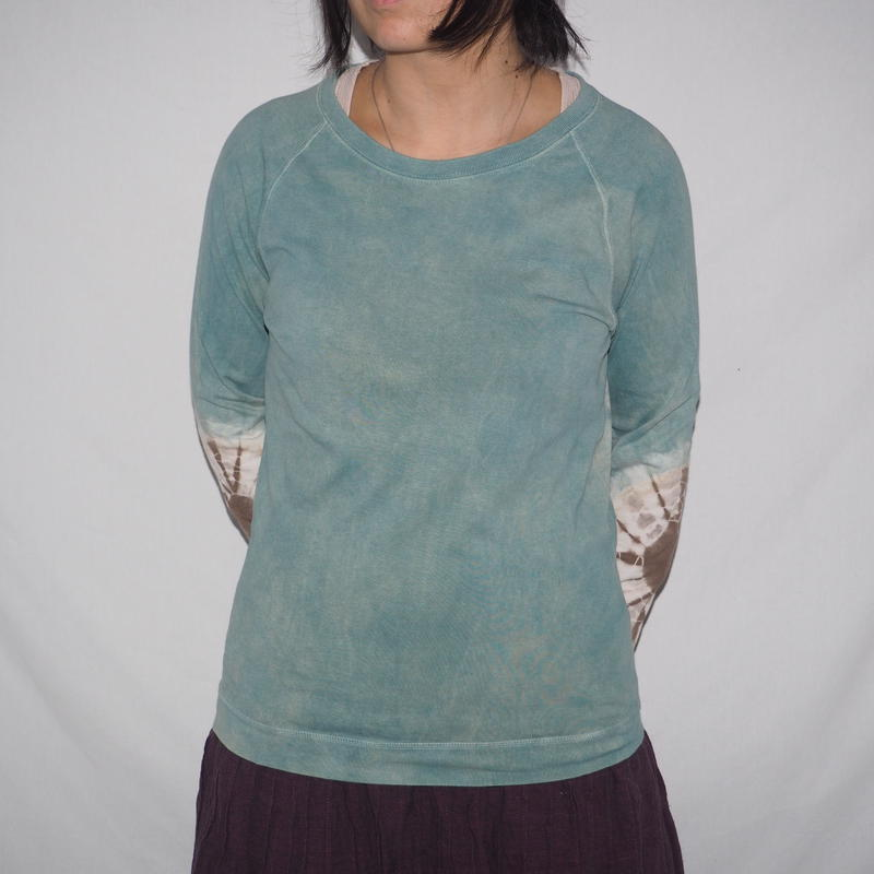 Raglan T-shirts Long Sleeve(水色×鶯茶色)
