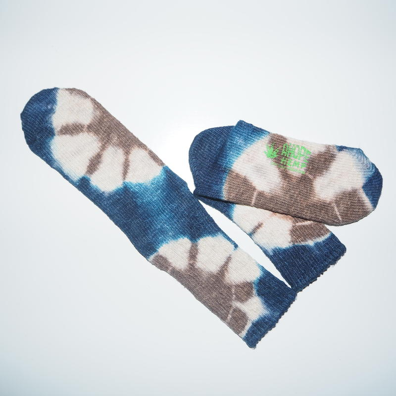 Hemp Cotton Socks(紺色×焦茶色)