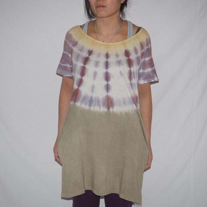 Bamboo Tunic(黄色×赤紫×黄緑色)