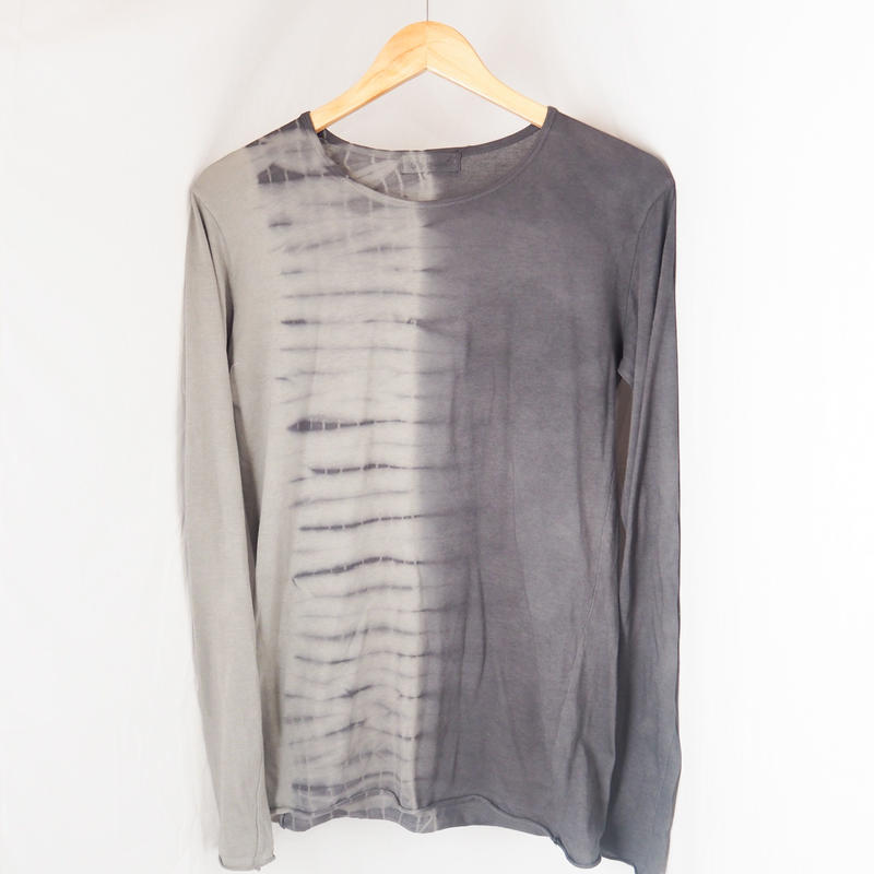 Round neck Long Sleeve T-shirts(墨黒 × グレー)