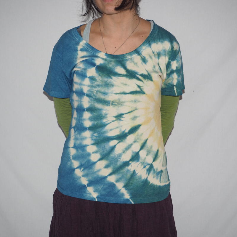 U-neck T-shirts Short Sleeve(菜の花色 ×緑色× 藍色)