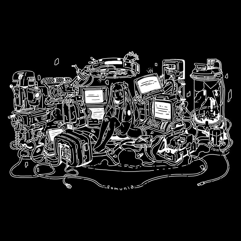 """somunia """"wires"""" T-Shirt (Black)"""