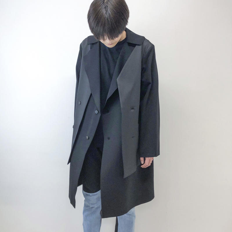 KONYA / LAYERED GOWN COAT /black