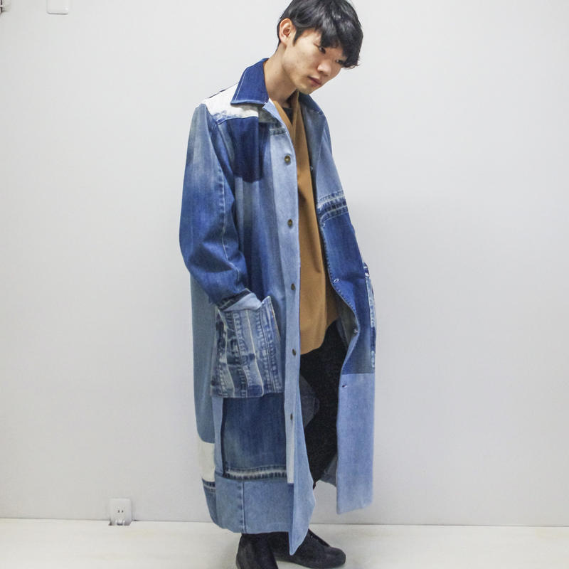 SHUTTLE / DENIM PATCH-WORK coat