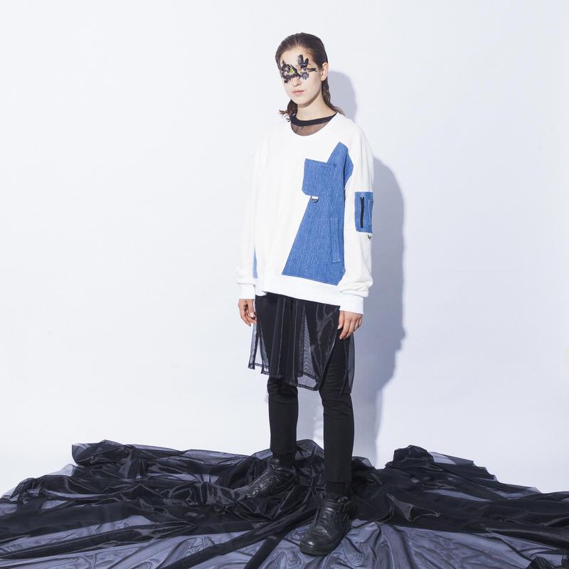 NICK NEEDLES / Denim Mix Sweat  / WHITE × BLUE