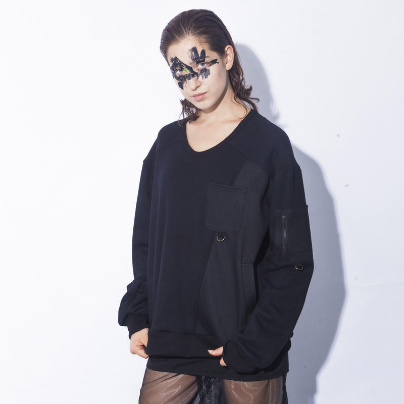 NICK NEEDLES / Denim Mix Sweat  / BLACK