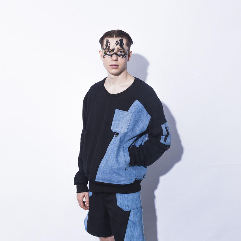 NICK NEEDLES / Denim Mix Sweat  / BLACK × BLUE