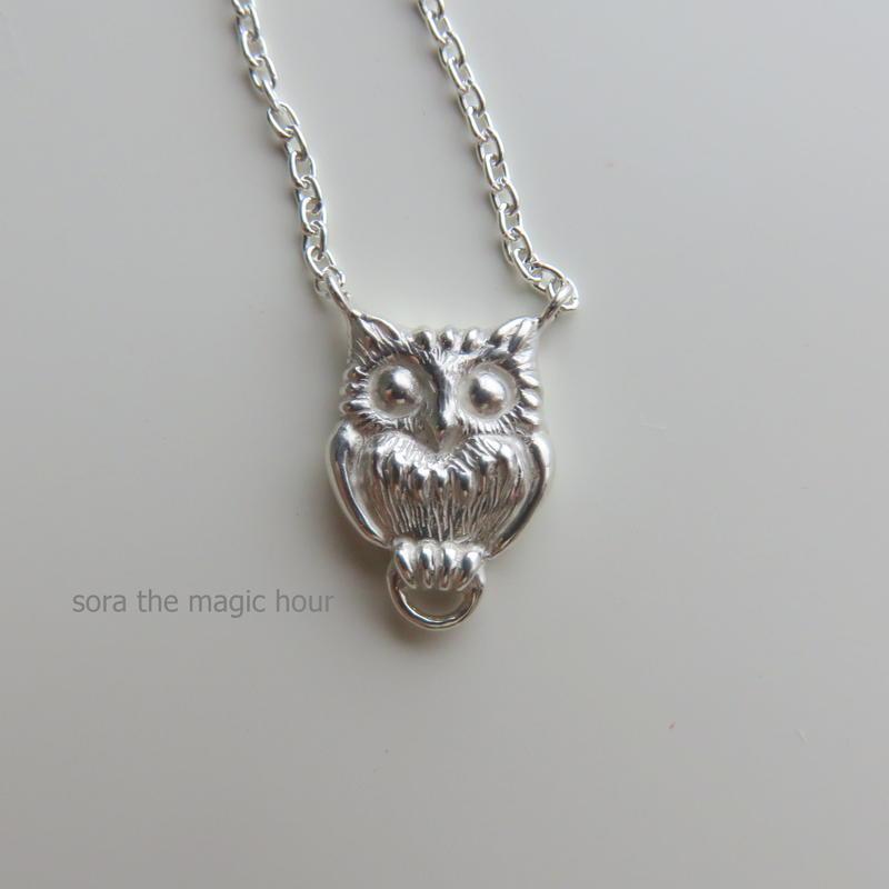 ふくろうのシルバーネックレス owl silver necklace silver 925 handmade