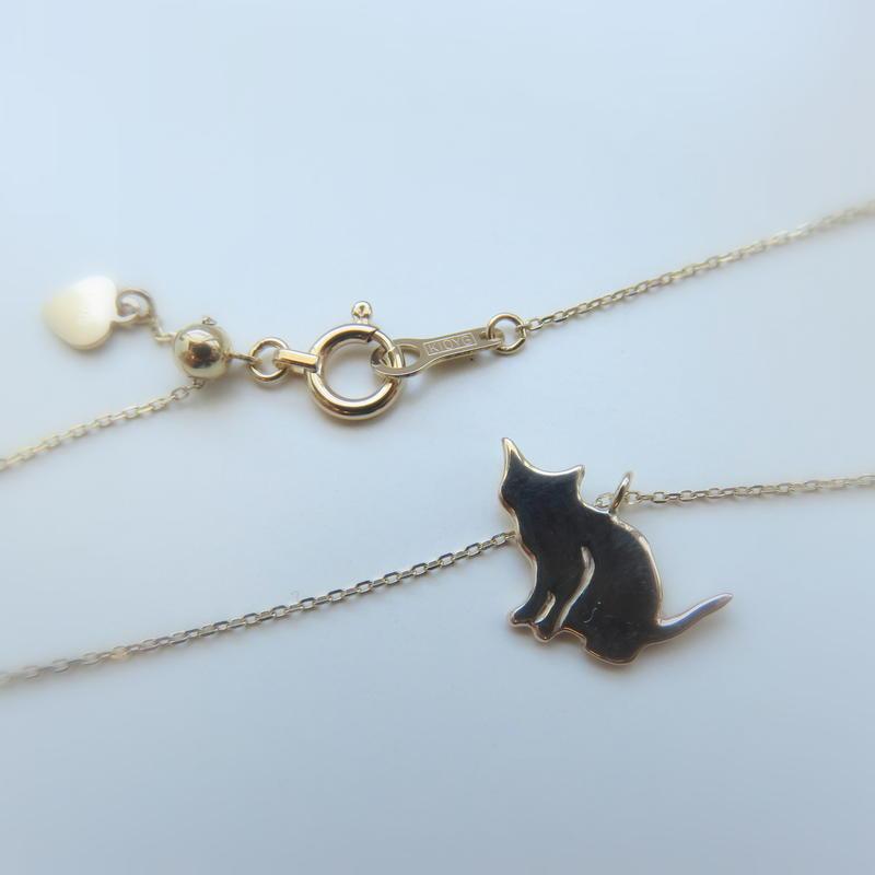 ネコシルエット K10 ネックレス「座り」Cat silhouette necklace