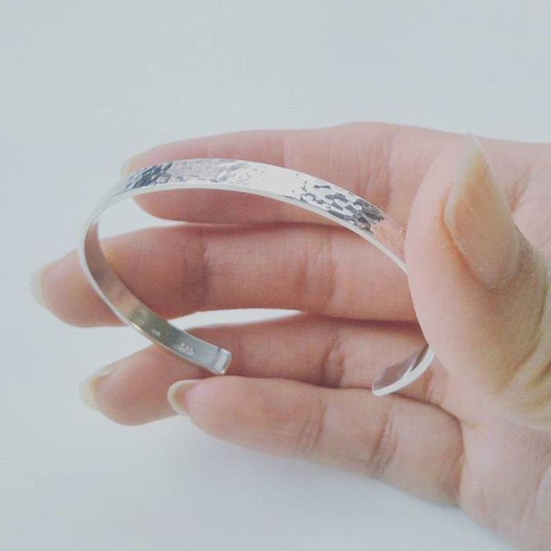 バングル鎚目 Silver 925 Hammer patterned Bangle