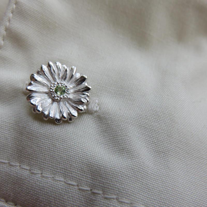 ガーベラのカフス, Gerbera cufflinks, Flowercufflinks, African Daisy, sterling silver
