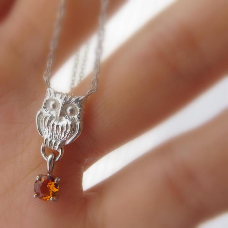 ふくろうネックレス with ストーンチャーム owl necklace 誕生石