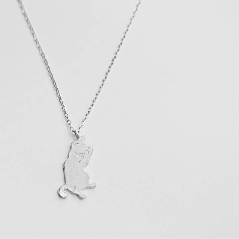 ネコシルエット ネックレス「顔洗い」Cat silhouette necklace