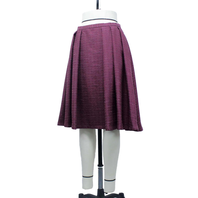 フロント袴ソフトプリーツスカート (ボルドー) C61