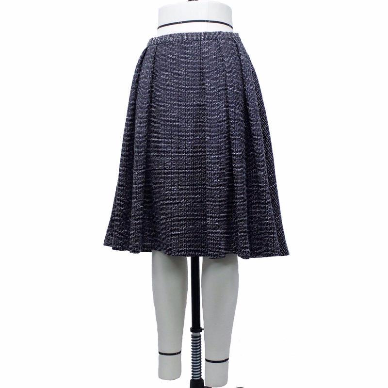 フロント袴ソフトプリーツスカート (ブラック&ホワイト) BA60