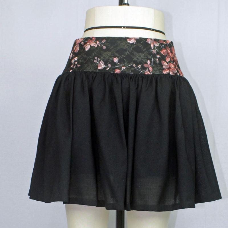 【帯ボトムスシリーズ】ヒップハングのギャザースカート (ブラック) B28