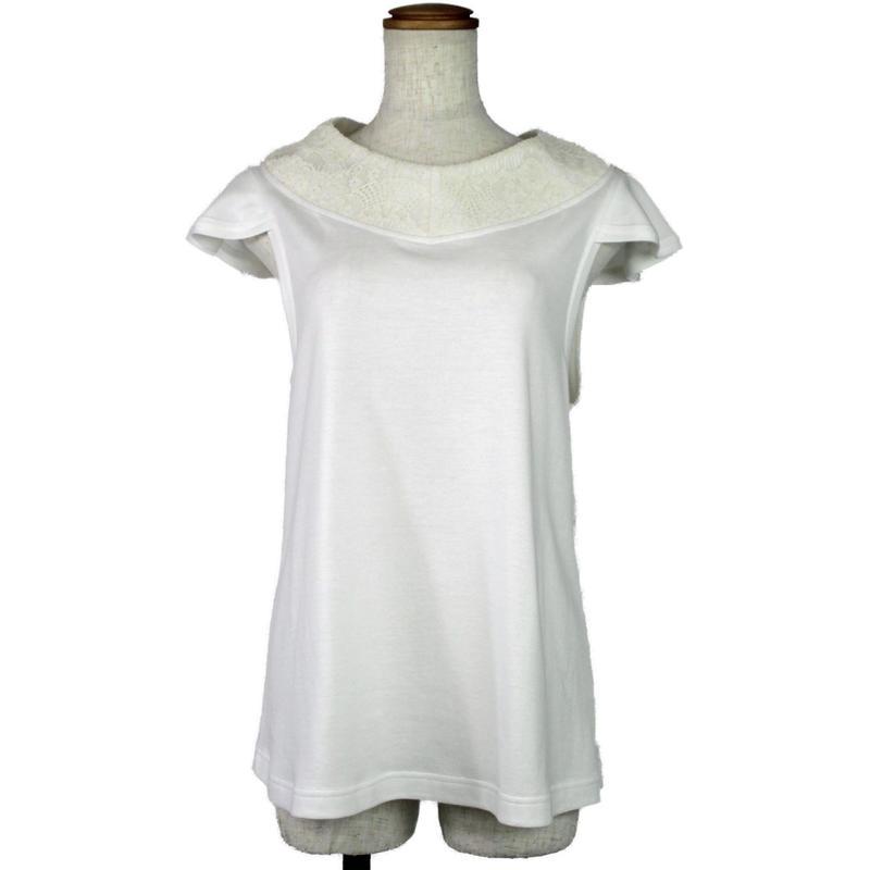 【着物衿シリーズ】レース着物衿 キャップスリーブカットソー (オフホワイト) A12