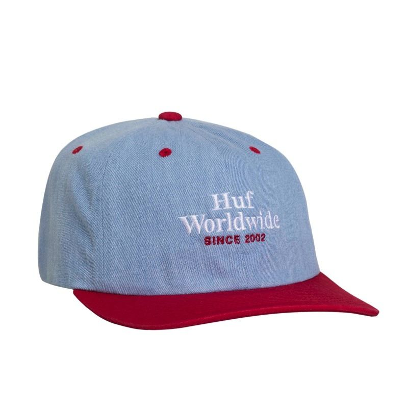 WORLDWIDE DENIM 6 PANEL HAT RESORT RED
