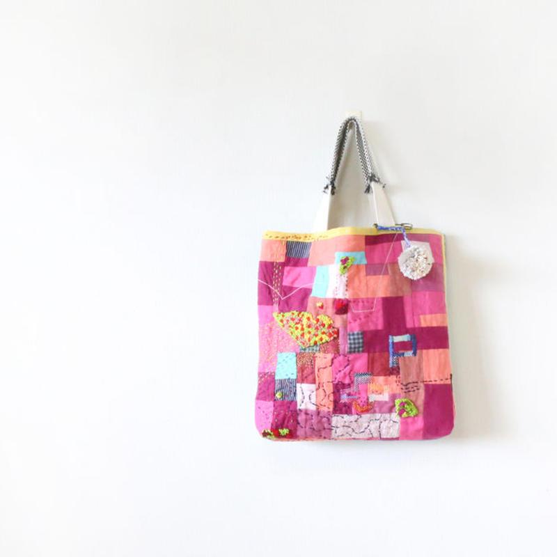 ちくちく2‐faced bag「ハナバタケとソラ」