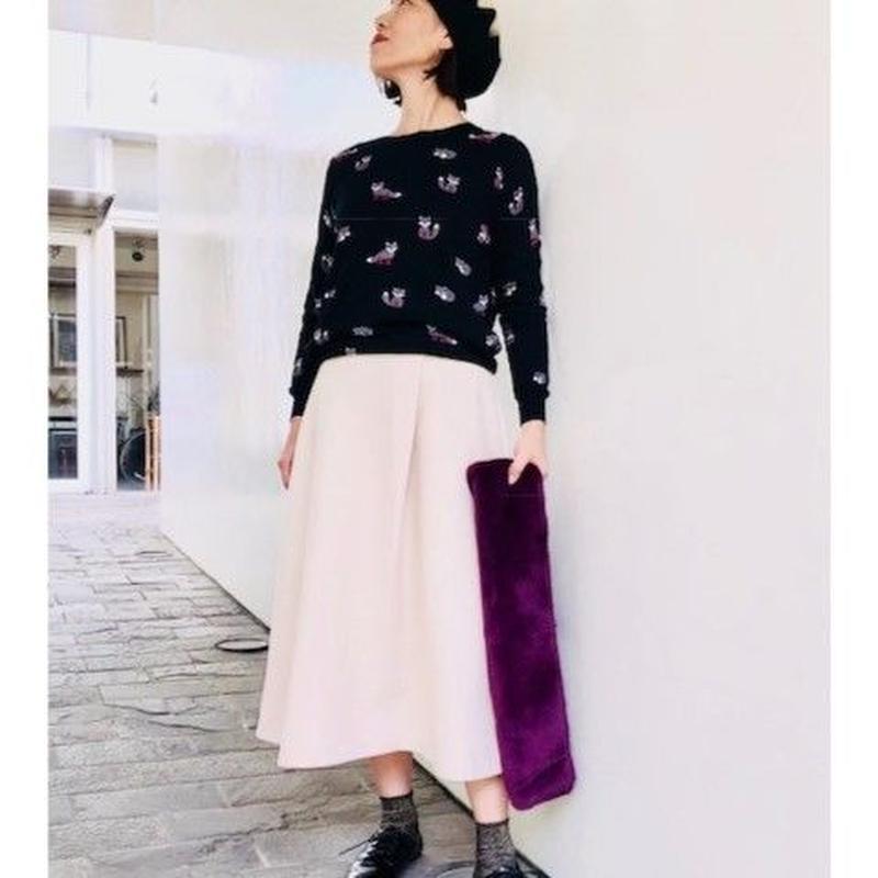 Cotton Raccon knit(コットンたぬき柄のニット/ブラック)
