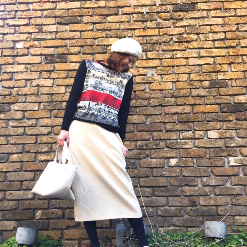 アイボリーミモレタイトスカート