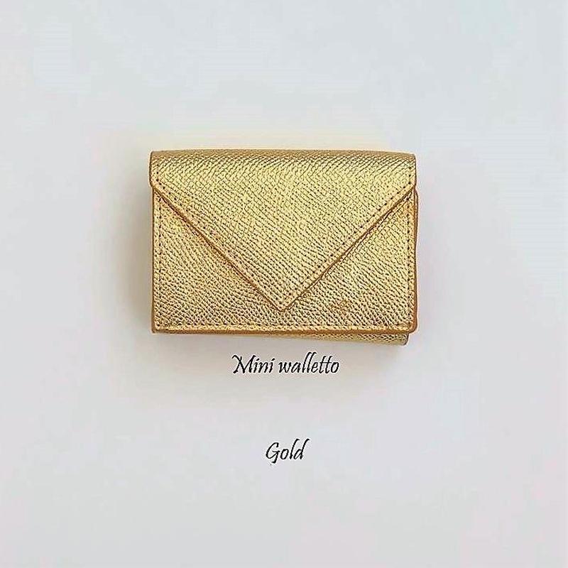 三つ折りミニウォレット(ゴールド)