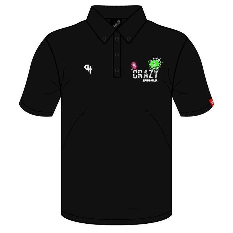 CRAZY HANDBALLER ボタンダウンポロシャツ ブラック